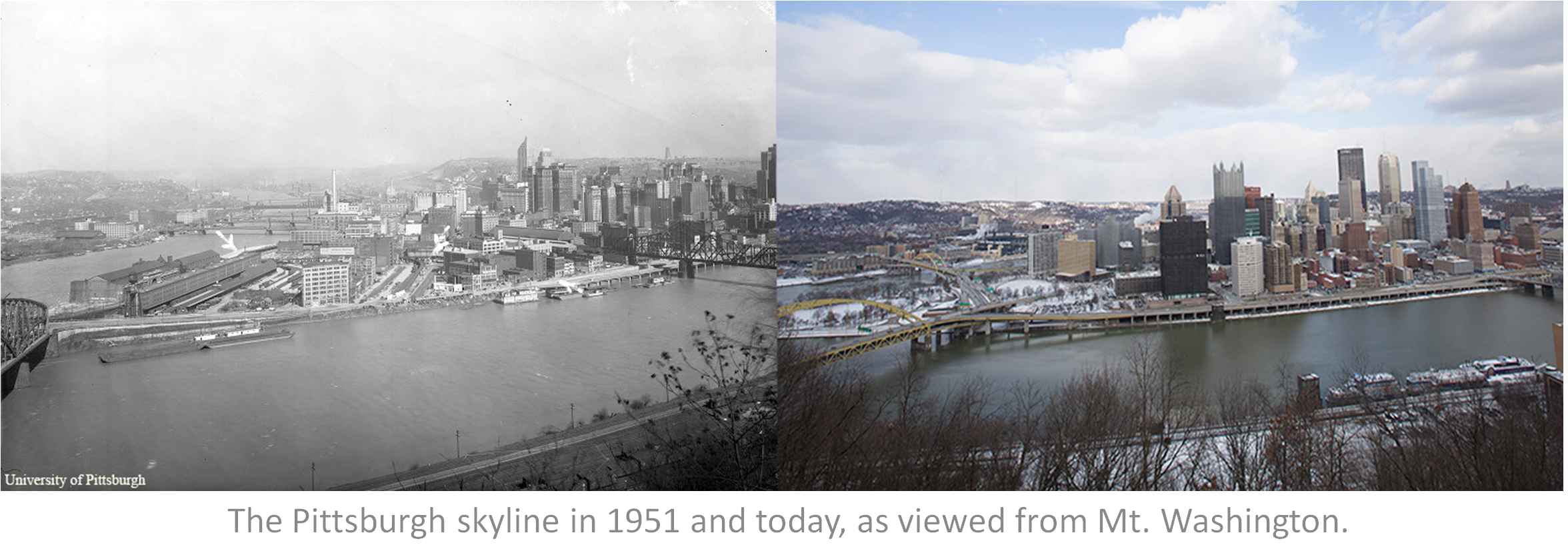 Oldest Of Pittsburgh Skyline Wiring Diagrams Diagramquot Circuit Diagram Types Are Signal Flow Block The In 1951 And Today As Viewed From Mt Rh Pinterest Com Night