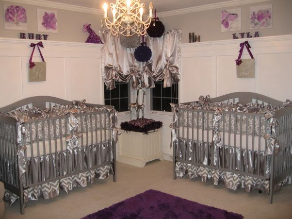 Twin Baby Girl Bedroom Ideas lavender nursery ideas | silver and purple twin nursery - nursery