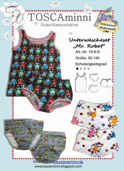 """10K9 E-Book  Unterhosen """"Mr. Robot"""" Gr 92-140 von TOSCAminni E-Books und Schnittmuster für Kindermode auf DaWanda.com"""