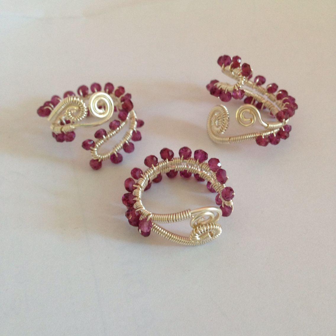 Garnet wire rings