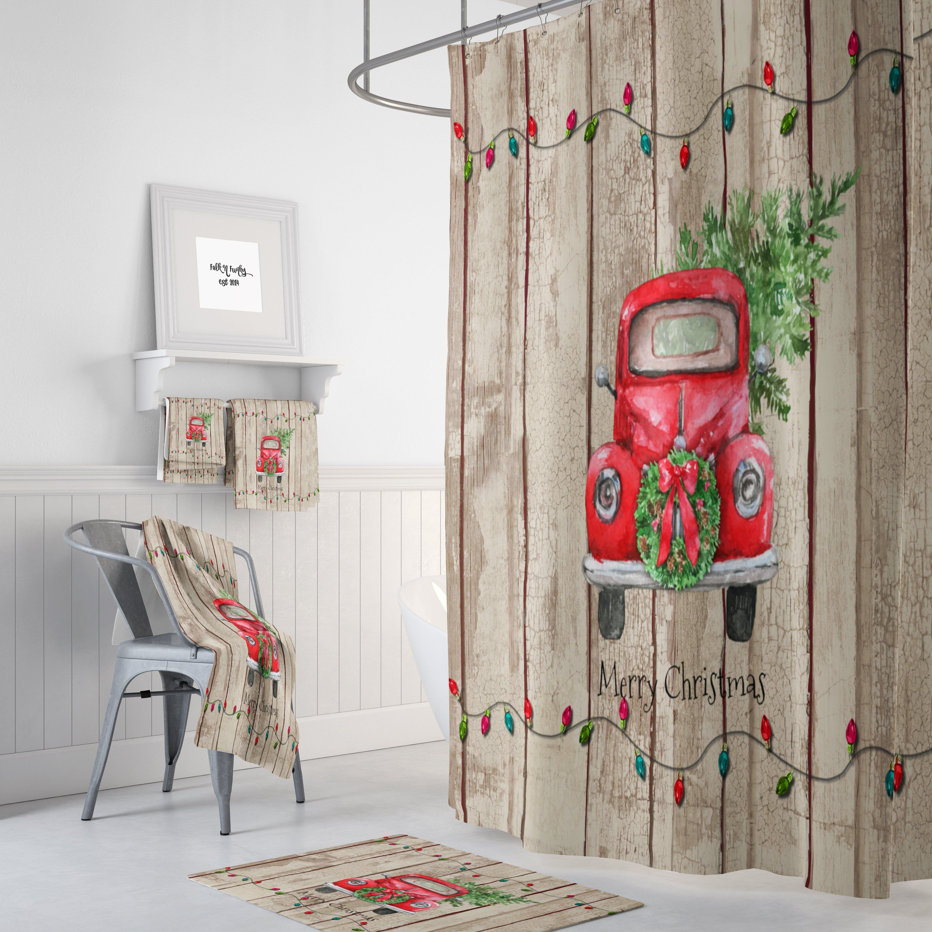 Red Truck Home Decor Shower Curtain Optional Bathroom Set Etsy