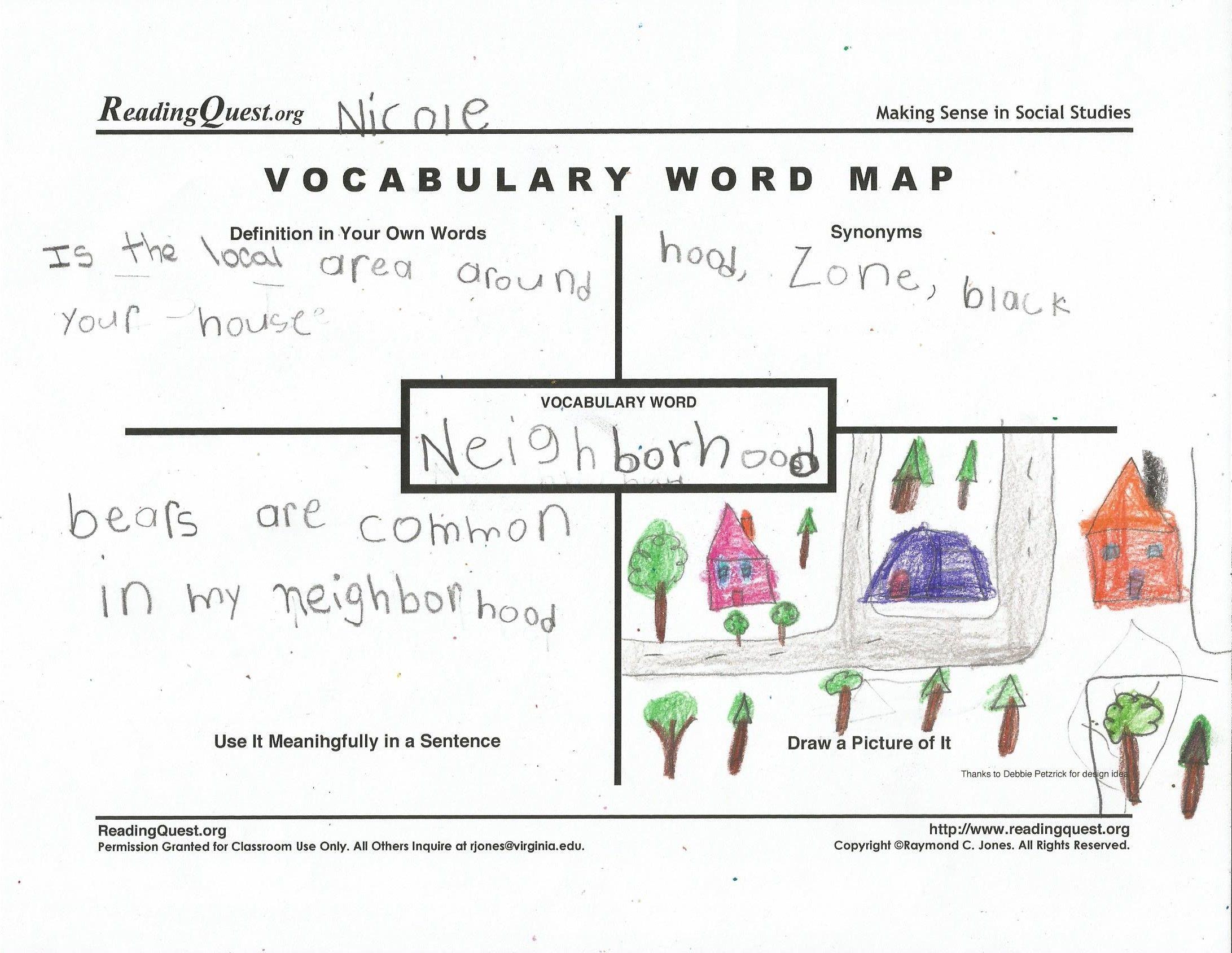 Vocabulary Word Map Second Grade Readers Workshop Pinterest