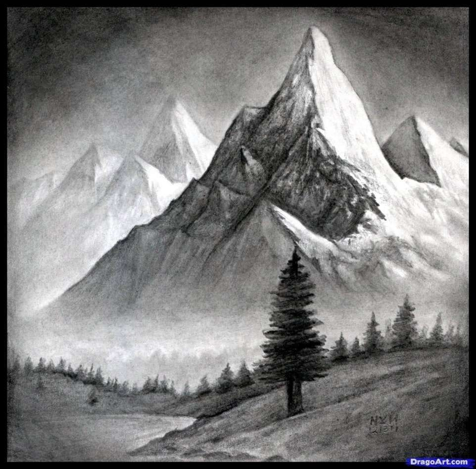 12 Landscape Mountain Drawing Scenery Drawing Drawingpencilwiki Com Ricette Pesce In 2020 Drawing Scenery Landscape Drawings Landscape Pencil Drawings