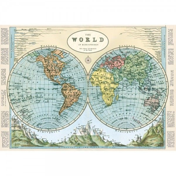 cavallini hemispheres world map wrap poster decoupage pinpoint