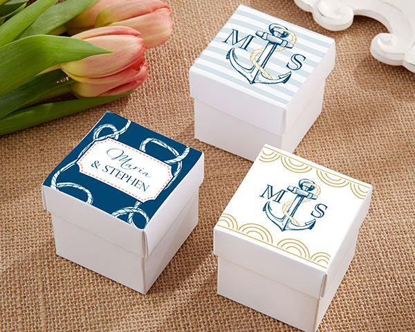 Personalized Square Favor Boxes - Nautical Wedding - Favor Boxes      #favorbox #weddingdecoration #partydecoration #candybox #weddingfavorbags