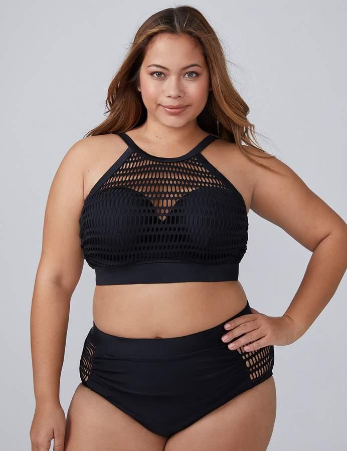 0e188f81bf Lane Bryant Crochet Mesh High-Neck Swim Bikini Top with Built-In Bandeau Bra