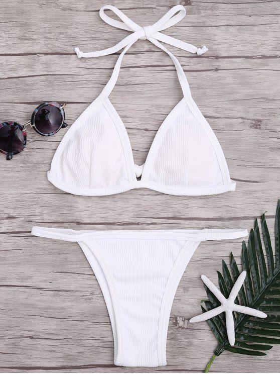 43fcbcb280a AD : Padded Textured String Bikini Set - WHITE Brazilian cut rib texture  bathing suit featuring self tie back triangle-shaped bikini top and  v-string tanga ...