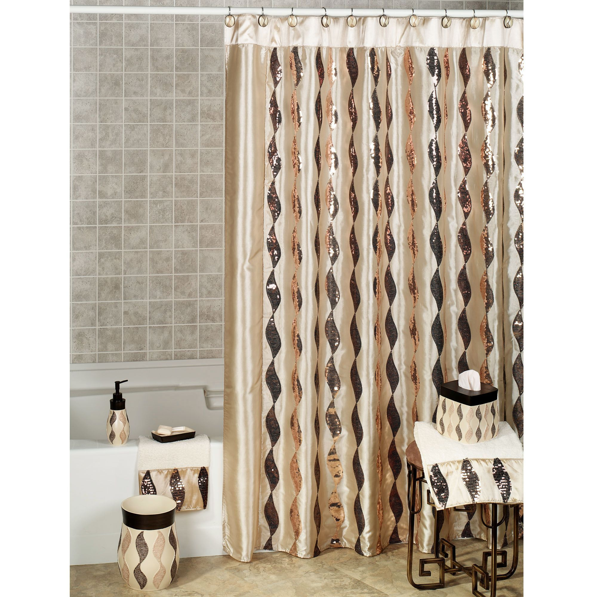 Shimmer Sequin Ribbon Shower Curtain