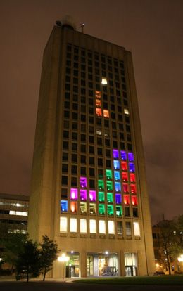 WICKED. World's largest tetrist game on the facade of MIT's Green Building