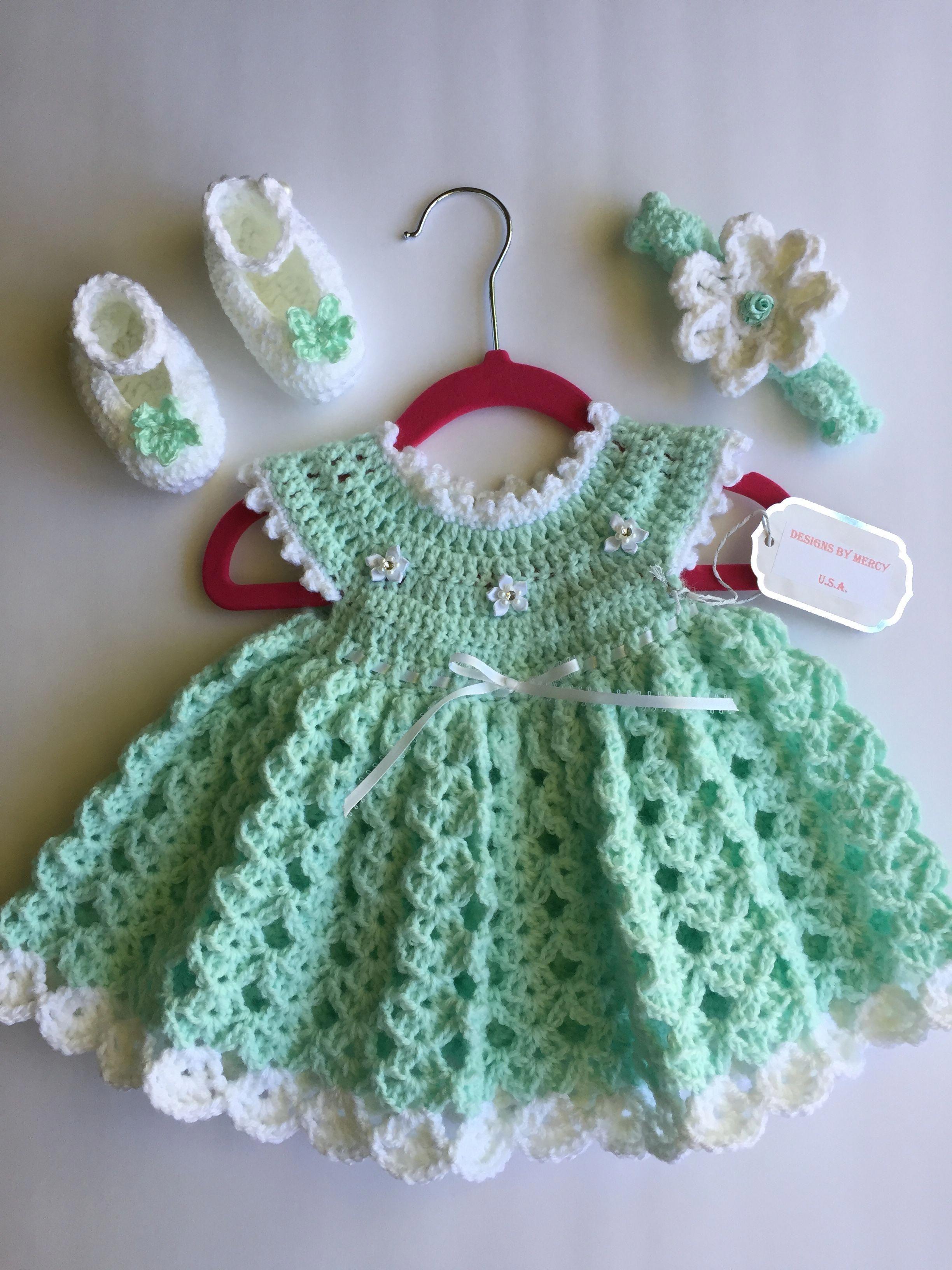 ddf5d27c5f6b Teal Crochet Baby Dress Teal Crochet Baby Headband White Crochet ...