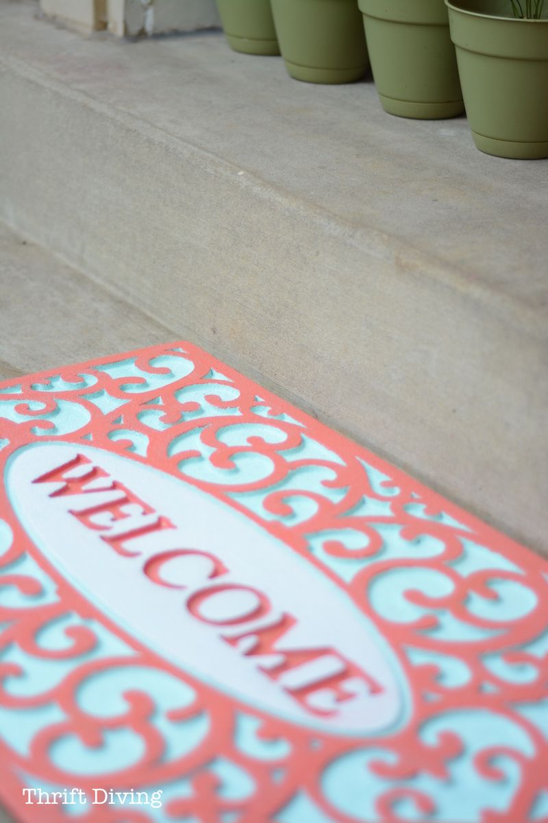 My Pretty Custom Welcome Mat Makeover With Spray Paint With Images Welcome Mats Rubber Door Mat Diy Rug