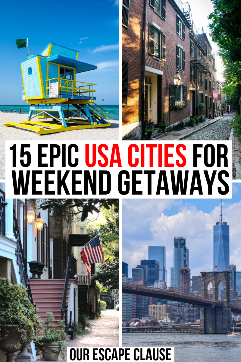 Looking for a quick weekend getaway in the USA? Whether you're looking for a romantic weekend away, a girl's trip, or even a solo vacation, these American cities are perfect for your long weekend trip.  #usa #usavacations #travel #travelusa #unitedstates #unitedstatestravel #citybreak