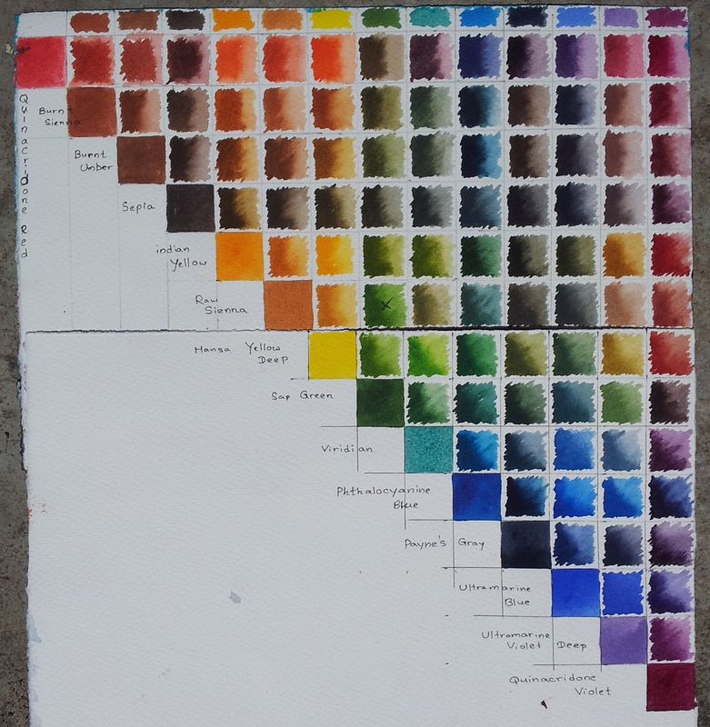 Color Chart For M Graham S Watercolors Set Of 5 Called Quinacridone Quintets Comparison Daniel Smith W C Gold T