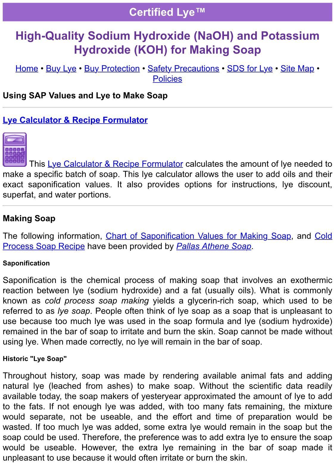 Soap Calculator Created By Certified Lye Lye Soap Soap