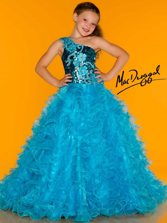 Bright Turquoise One Shoulder Little Girls Pageant Dress