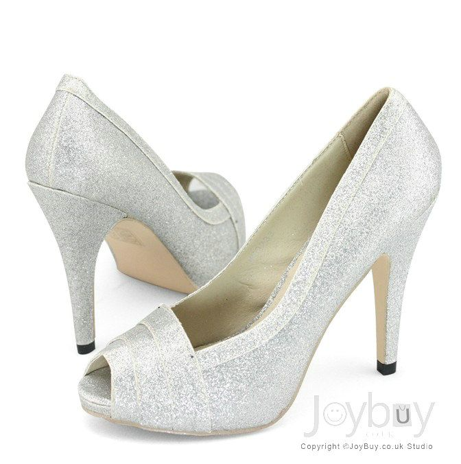Sparking Glitter Open Toe Silver Shoes for Wedding Party   Wedding ...
