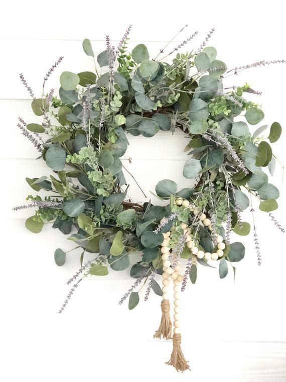Photo of Lavender and Eucalyptus Wreath, Front Door Decor, Spring Wreath, Spring Porch Decor, Wreaths For Spring