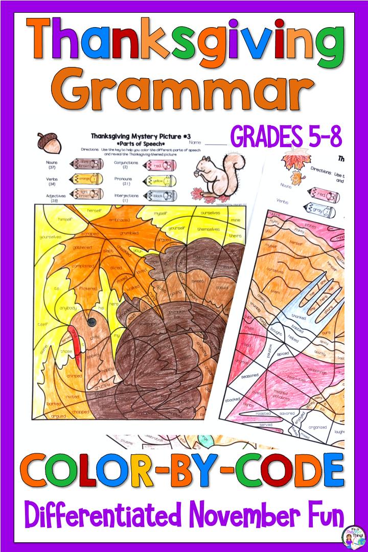 Thanksgiving Grammar Activities Parts Of Speech Color By Code In 2020 Thanksgiving Grammar Activities Thanksgiving Grammar Grammar Activities