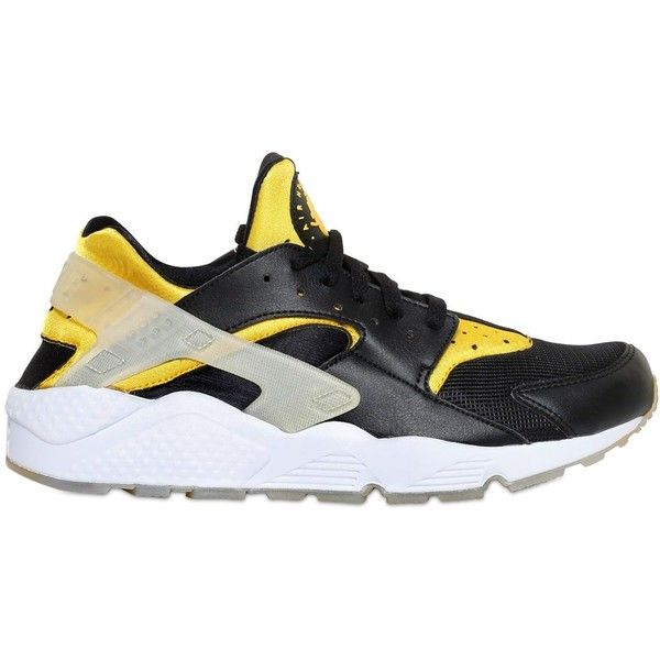size 40 dad15 eafae NIKE Berlin Air Huarache Run Prm Sneakers - Black/Yellow ($150) ❤ liked on  Polyvore featuring men's fashion, men's shoes, men's sneakers, shoes,  huarache, ...