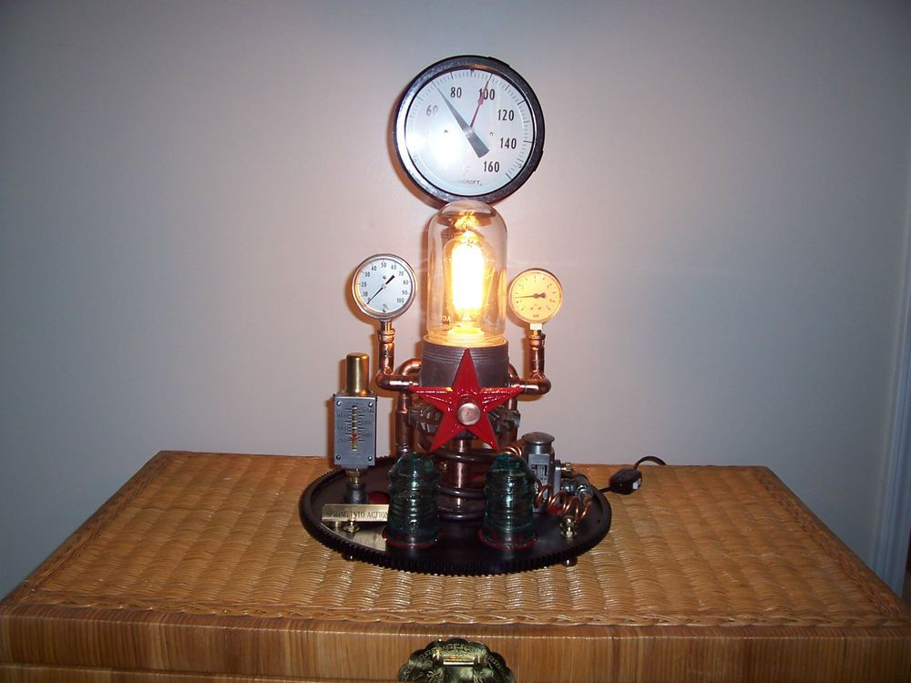 Steampunk Light Spring Into Action Pressure Temperature Gauge Industrial Art