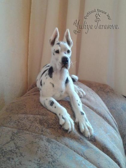 Needle Felted Great Dane Handmade Felted Dog By Yuliya Tarasova