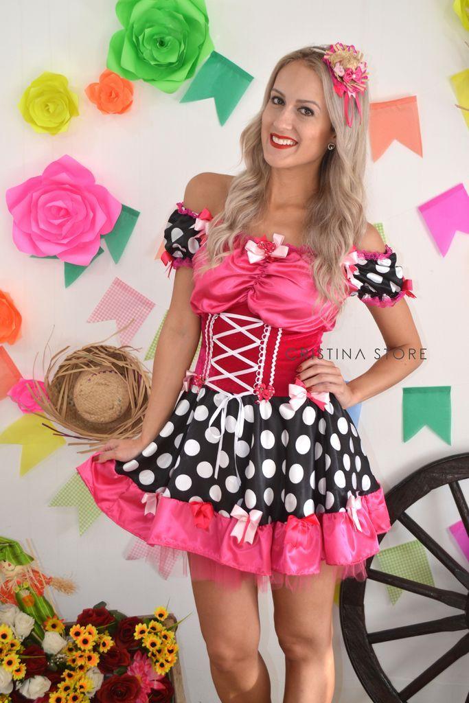 da505cbd3 Vestido Poá Pink Julia - Caipira Chic na internet