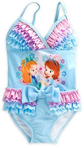 7f73b14947bd5 Disney Store Little Girls Sofia the First Glitter Accents Deluxe Swimsuit,  Size 4 Disney