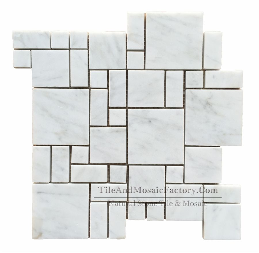 Bianco Carrara Random Square Is A Combination Of Polished White Marble Mosaics Which Including 4 Diffe Sizes Small 2 3x2 3cm 3x4 8cm