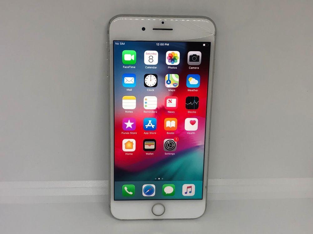 Cracked works apple iphone 7 plus 128gb silver verizon