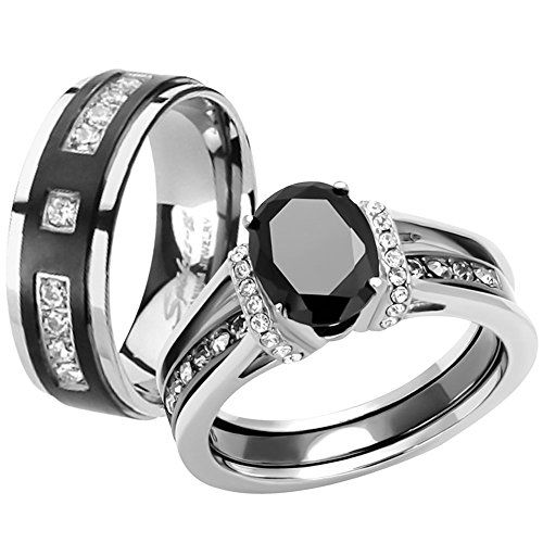 Her His Black Cz Stainless Steel Wedding Engagement Ring Titanium Band Set Womens Size