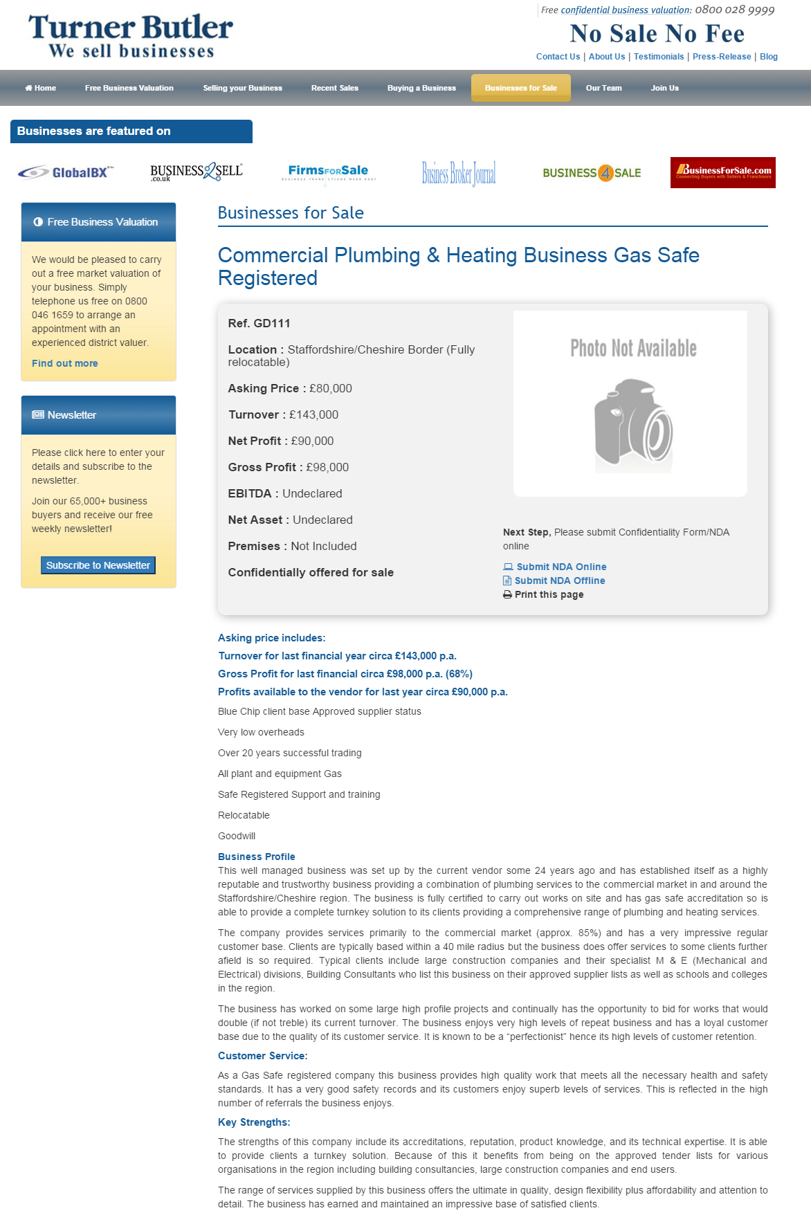 Business for sale Commercial Plumbing & Heating Business