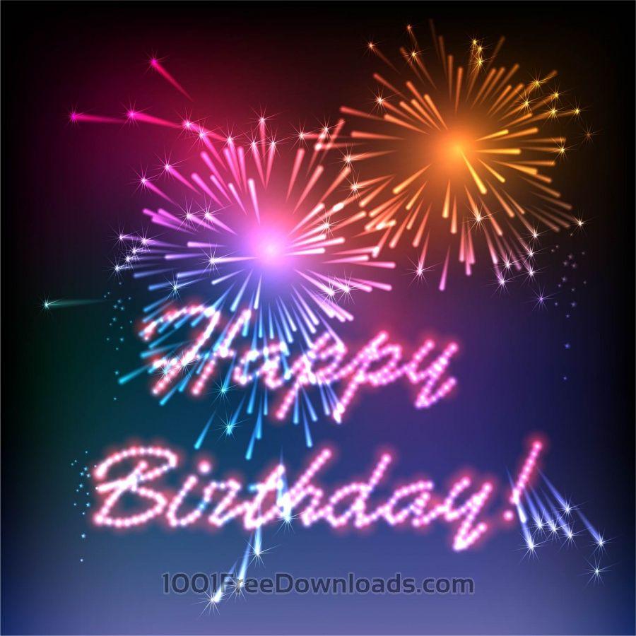 Free Vectors: Happy Birthday Fireworks