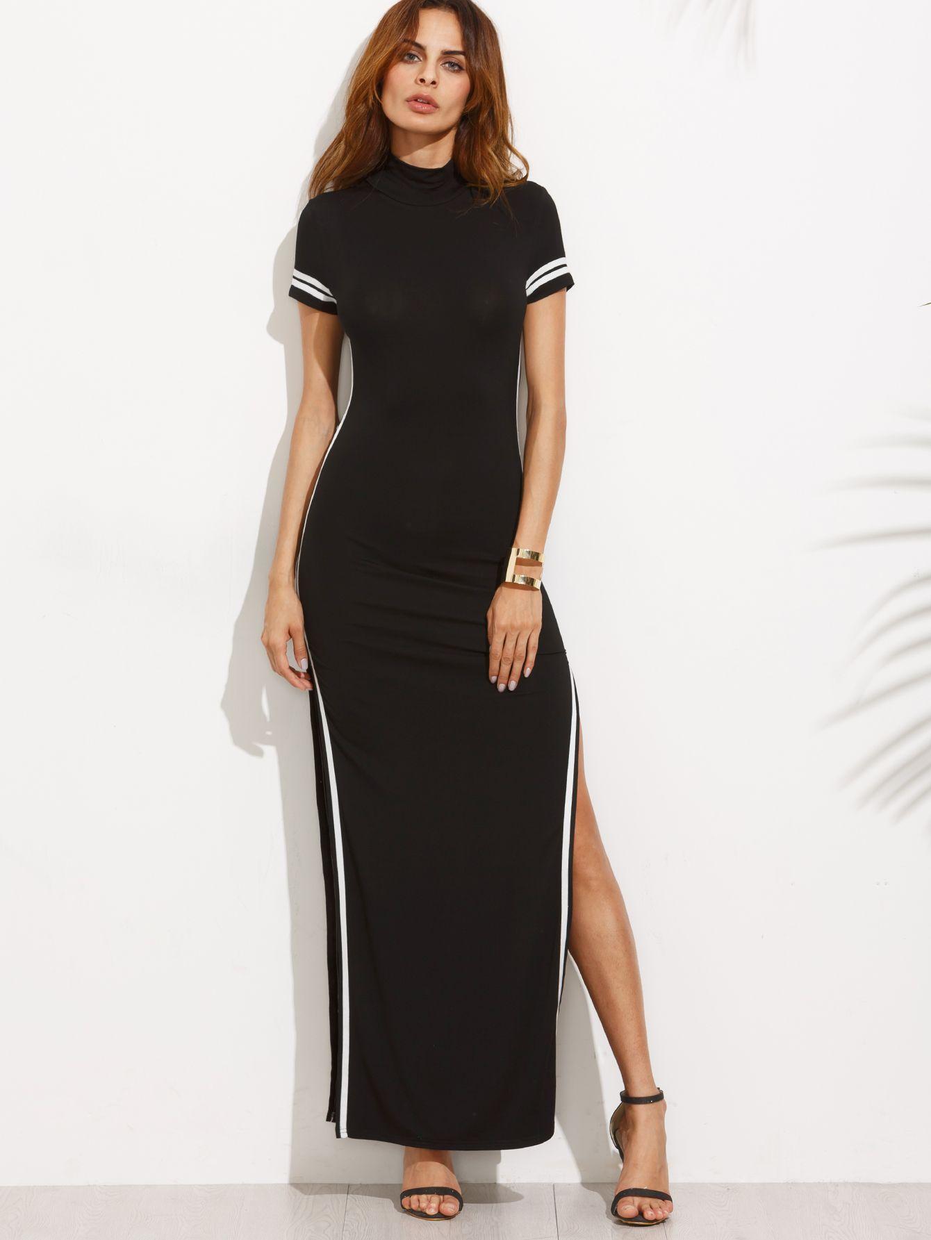 5aea1dff618 Robe longue fendue manche courte motif rayures - Noir - SheIn ...