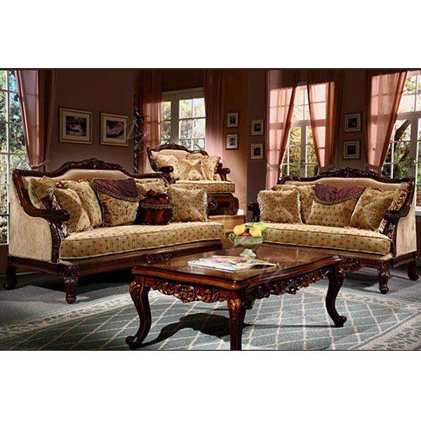 Gold Beige Chenille 2pc Sofa Set $3,589.00