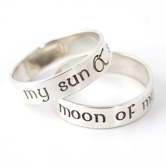 Nerdy Wedding Bands My Sun Stars Moon Of My Life Pair Of Sterling Silver His And Hers Wedding Bands Nerdy Wedding Bands Wedding Rings Wedding Bands