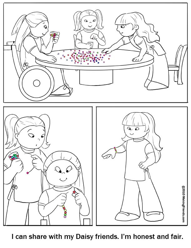 Daisy Girl Scout Coloring Page Printable For Daisys To Color In This Is Great Learning The Honest And Fair Petal Along With