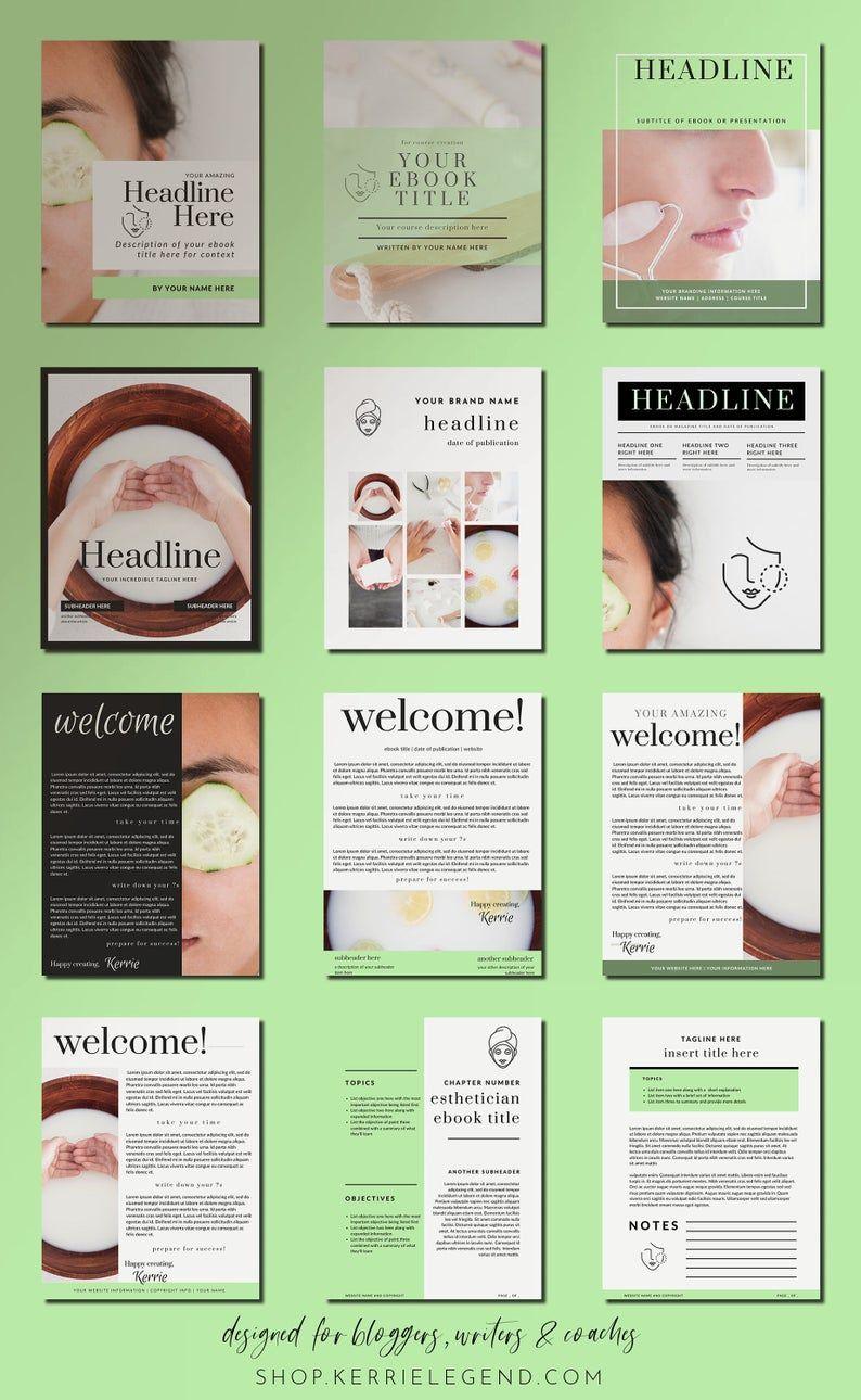 Esthetician Canva Template eBook & Workbook 40Page Set