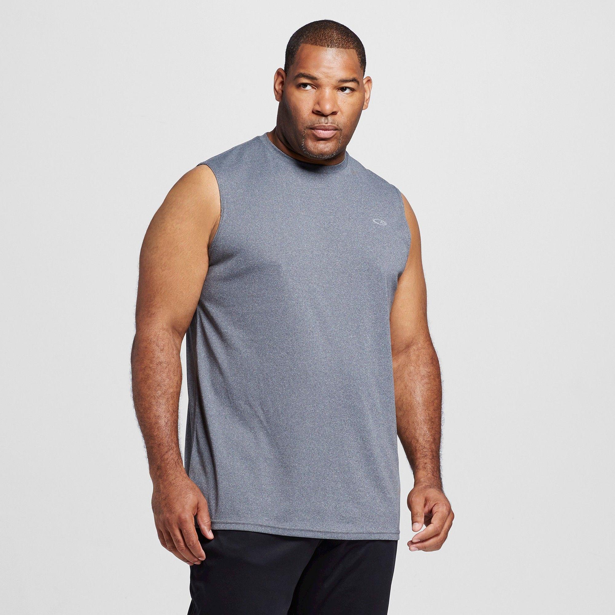591c9341 Men's Big & Tall Tech Sleeveless Shirt Charcoal Heather Xlt - C9 Champion