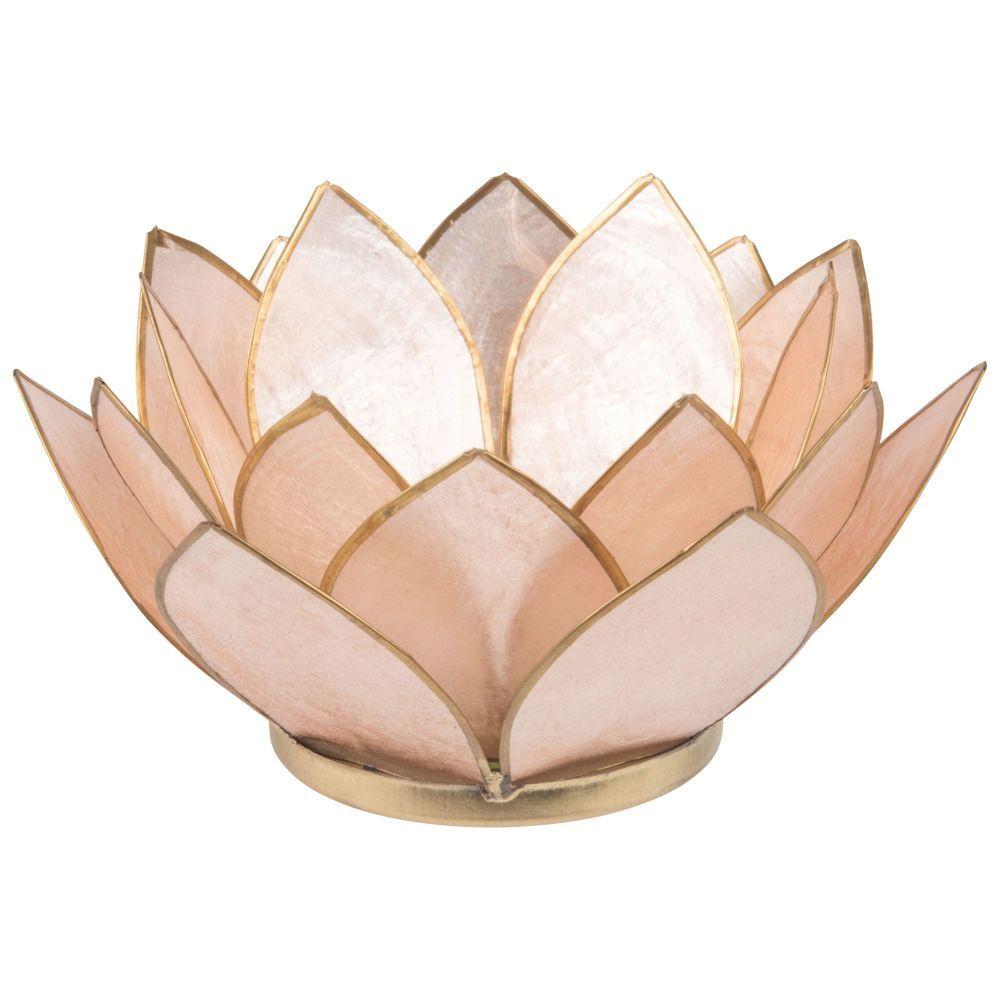 Bougeoir Fleur En Nacre Rose Et Metal Maisons Du Monde Fleurs Metalliques Bougeoirs Decoration Maison