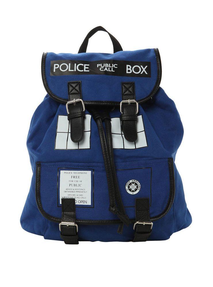 Doctor Who Tardis Police Box Knapsack Back Pack Book Bag New Licensed Bbc