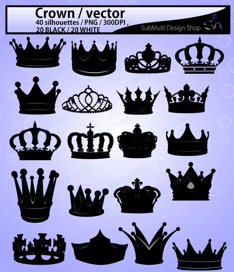 Crown Svg High Quality Crown Clipart Crown Silhouette Etsy Crown Silhouette Clip Art Silhouette Vector
