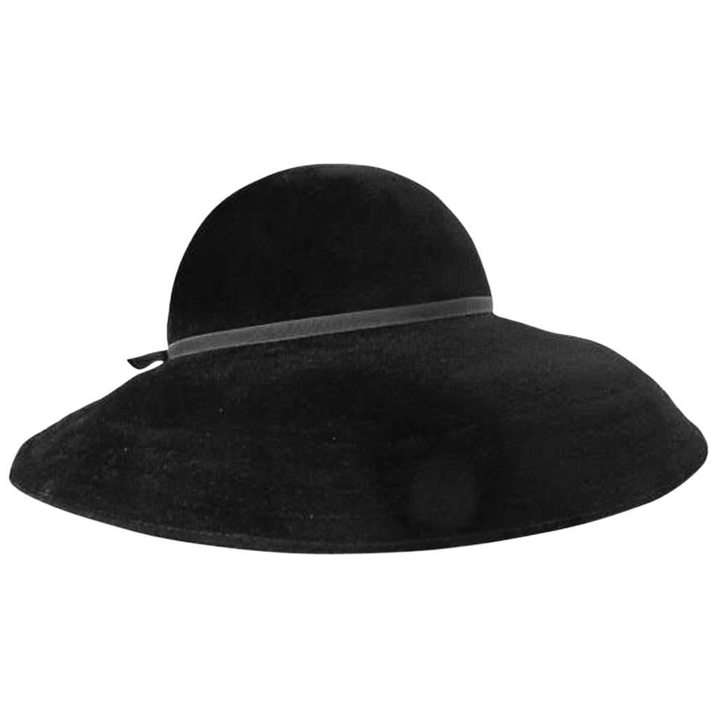 ed6d45c5e05 Galanos Black Wide Brimmed Hat
