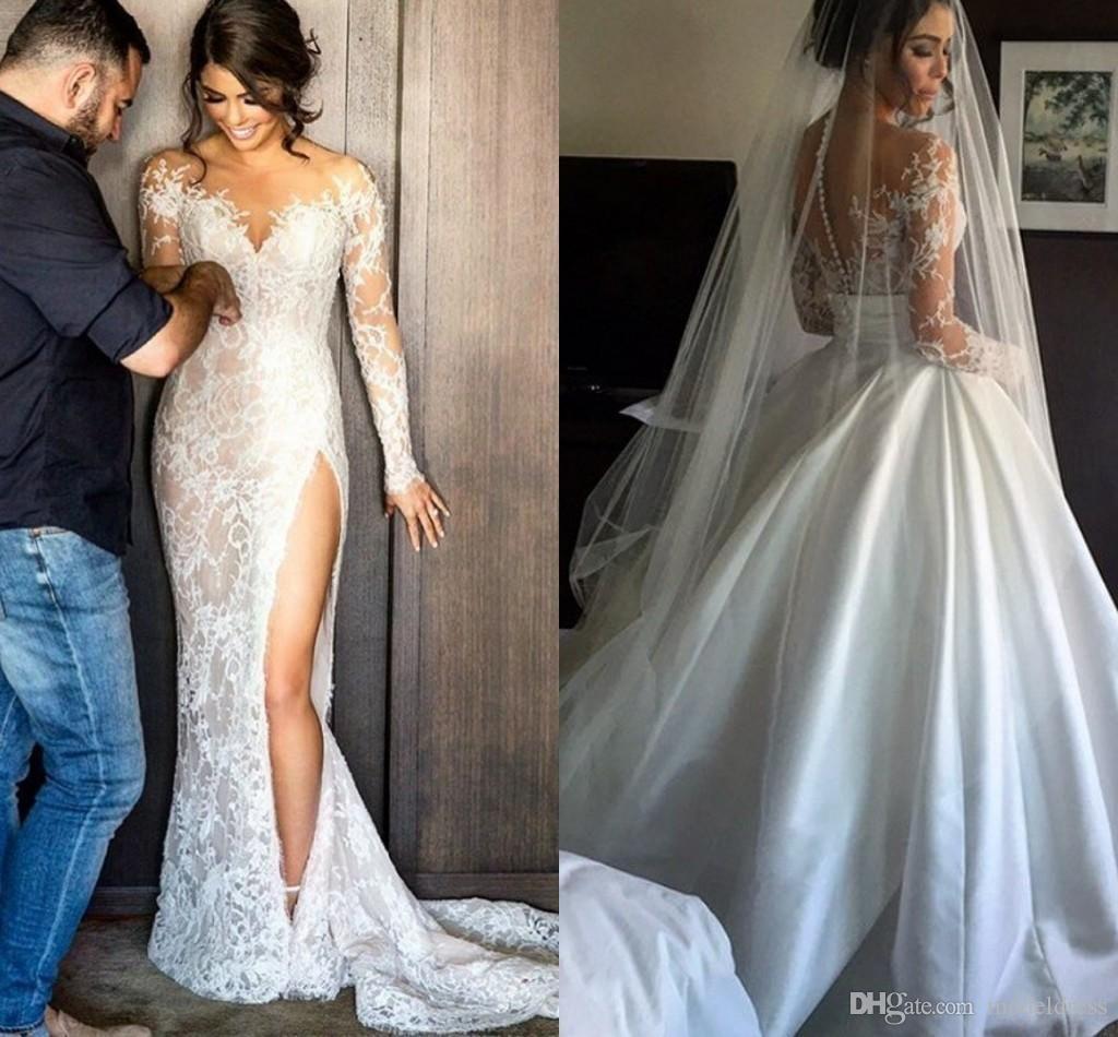 Detachable skirt wedding dress  Modest Steven Khalil Lace Wedding Dress With Detachable Skirt Sheath
