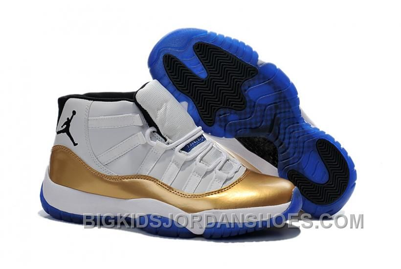 d044e64690485a Clearance Buy Nike Air Jordan 11 Xi Chicago Bulls Mens Shoes 2015 White And  Gold 2016 Sale