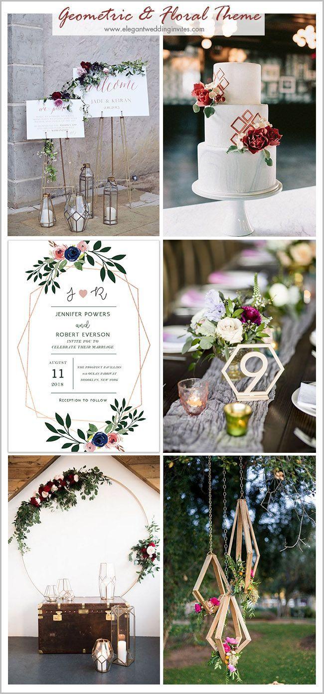 modern geometric blush pink floral wedding invites EWI425 | Weddings ...