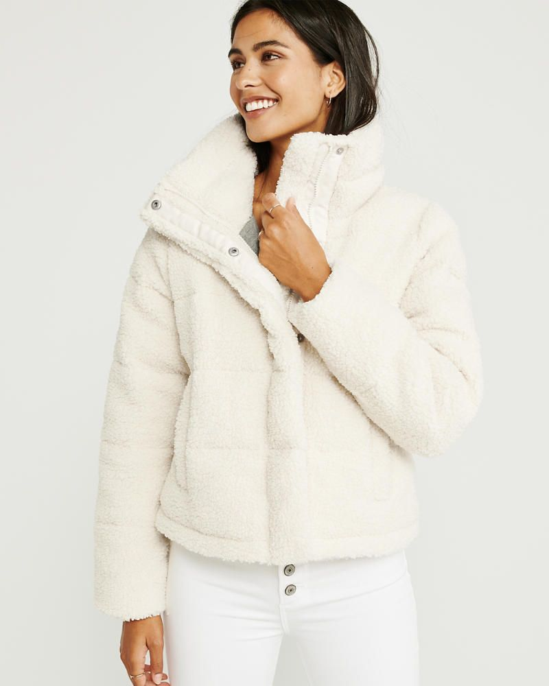 Womens Mini Sherpa Puffer Jacket Womens Jackets Coats Abercrombie Com Moda Femenina Moda Femenina [ 1000 x 800 Pixel ]