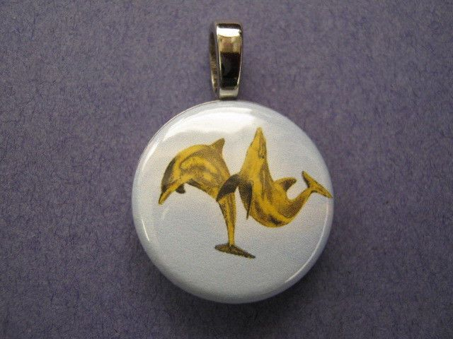 Necklace  DOLPHIN Gold Colored Pair DOLPHIN New  Handmade Interhangeable Pendant