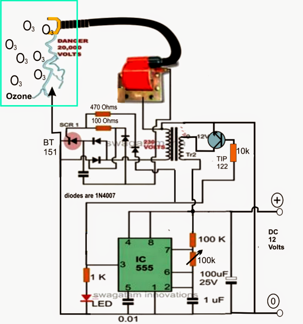 Simple Hydrogen Generator Circuit : The article explains a simple ozone gas generator circuit