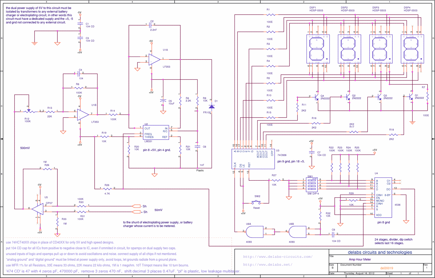 Schematics Of Delabs Amp Hour Meter Using Lm331 And 74c926 Tech Fm Transmitter Circuit Transistors Gadgetronicx
