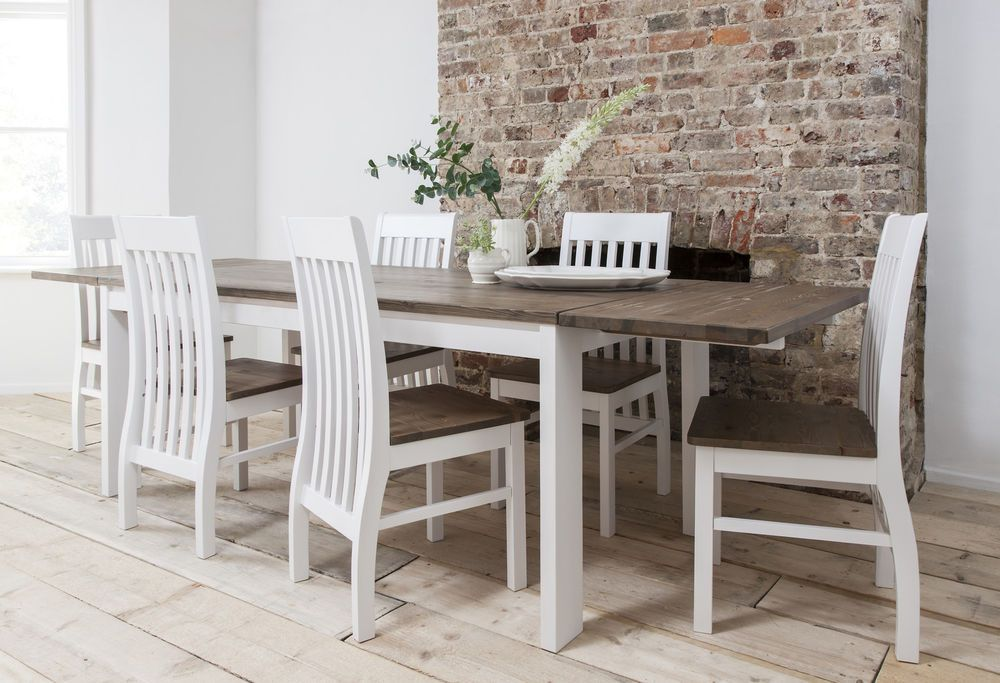 Attrayant Dining Table And Chairs Dining Set Dark Pine U0026 White With Extending Table  Hever